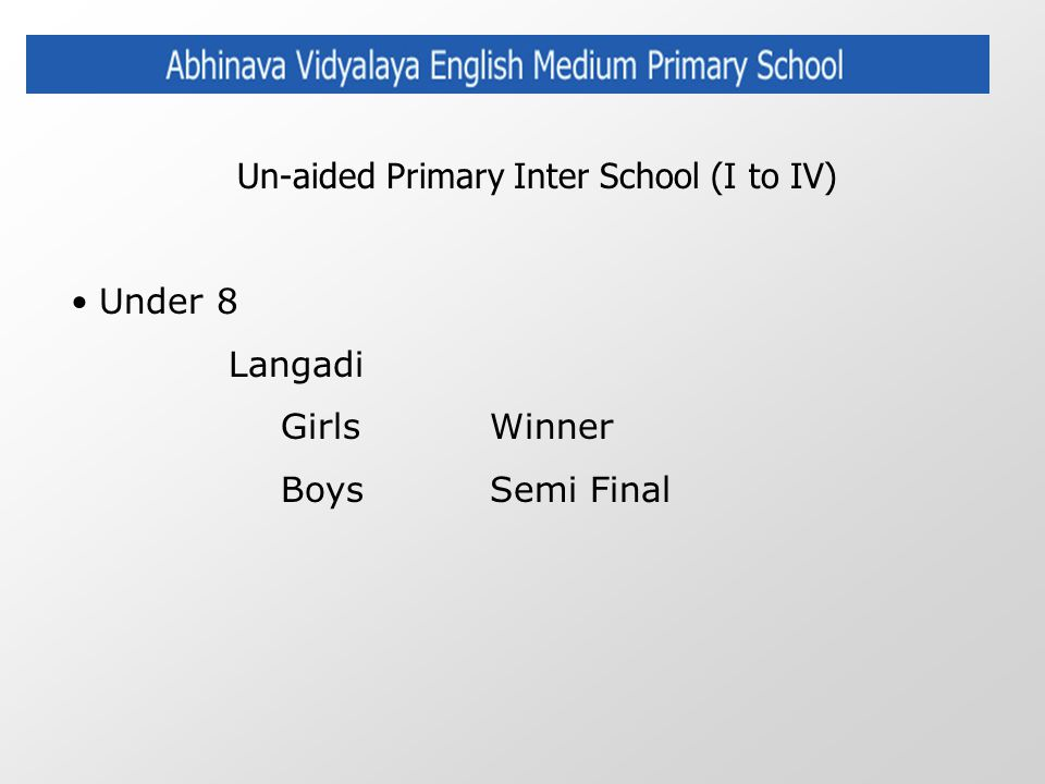 Un-aided Primary Inter School (I to IV) Under 8 Langadi GirlsWinner Boys Semi Final