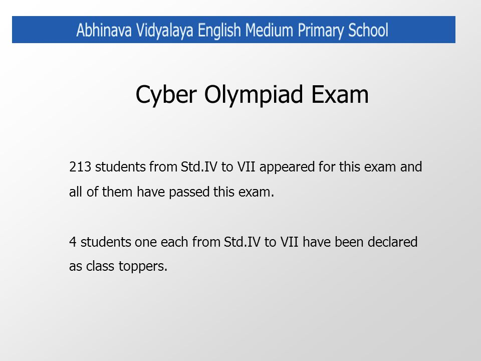 Cyber Olympiad Exam 213 students from Std.IV to VII appeared for this exam and all of them have passed this exam. 4 students one each from Std.IV to V