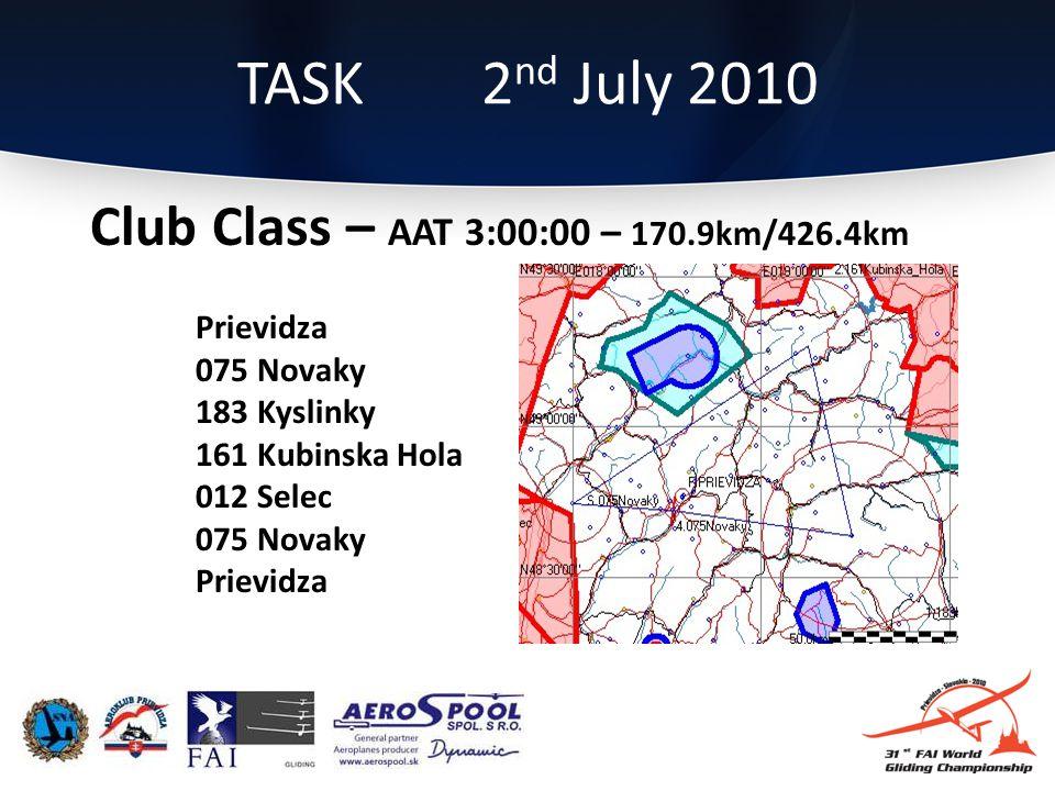 Club Class – AAT 3:00:00 – 170.9km/426.4km Prievidza 075 Novaky 183 Kyslinky 161 Kubinska Hola 012 Selec 075 Novaky Prievidza TASK 2 nd July 2010