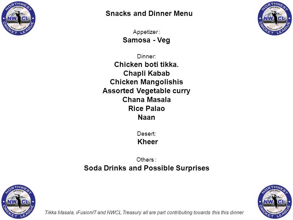 Appetizer : Samosa - Veg Dinner: Chicken boti tikka. Chapli Kabab Chicken Mangolishis Assorted Vegetable curry Chana Masala Rice Palao Naan Desert: Kh