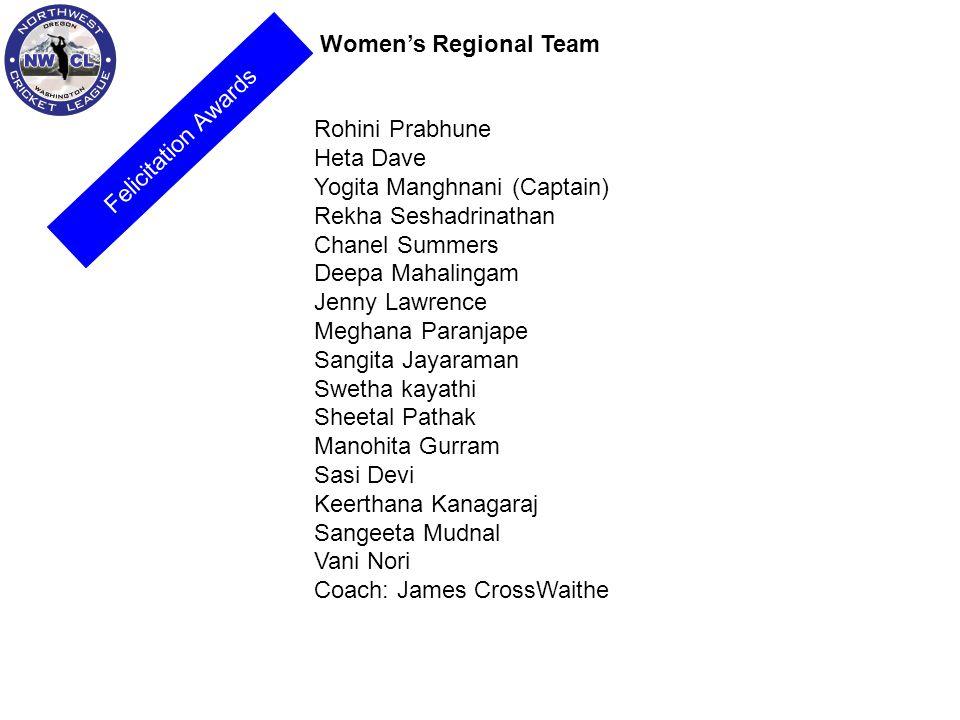 Womens Regional Team Rohini Prabhune Heta Dave Yogita Manghnani (Captain) Rekha Seshadrinathan Chanel Summers Deepa Mahalingam Jenny Lawrence Meghana