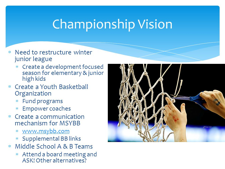 Championship Vision Need to restructure winter junior league Create a development focused season for elementary & junior high kids Create a Youth Basketball Organization Fund programs Empower coaches Create a communication mechanism for MSYBB www.msybb.com Supplemental BB links Middle School A & B Teams Attend a board meeting and ASK.