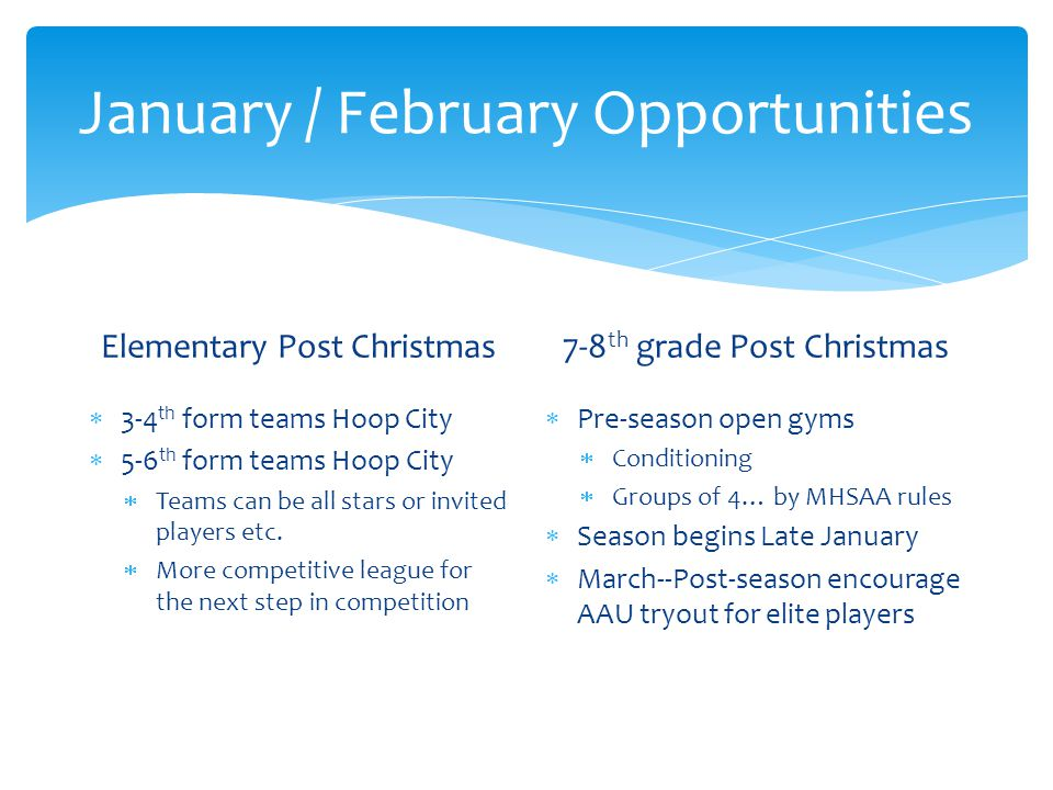 January / February Opportunities Elementary Post Christmas 3-4 th form teams Hoop City 5-6 th form teams Hoop City Teams can be all stars or invited players etc.