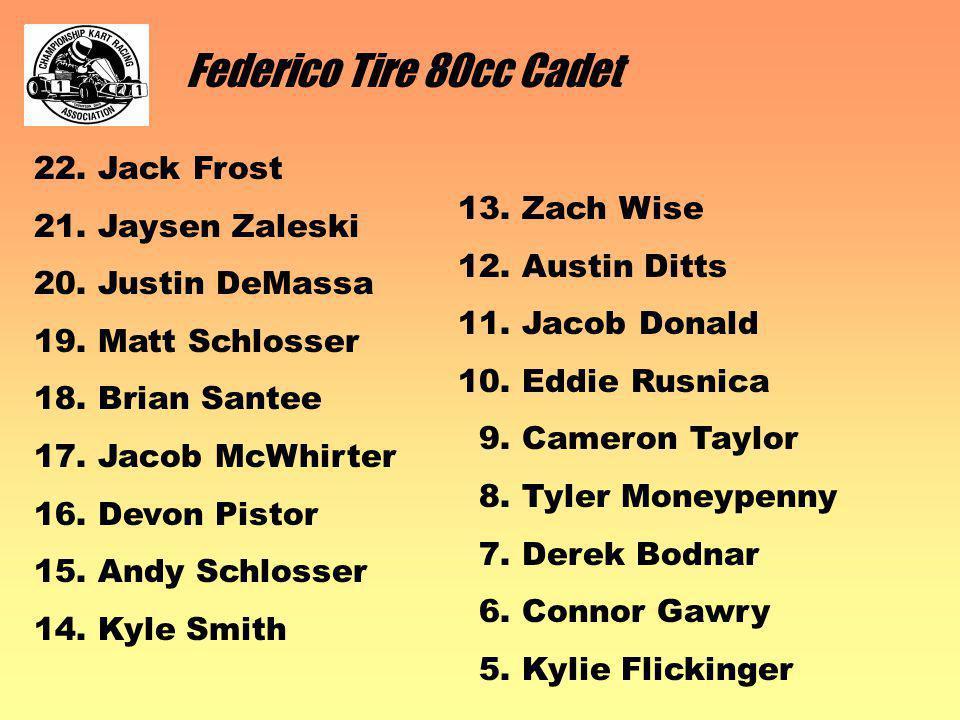 Federico Tire 80cc Cadet 22. Jack Frost 21. Jaysen Zaleski 20.