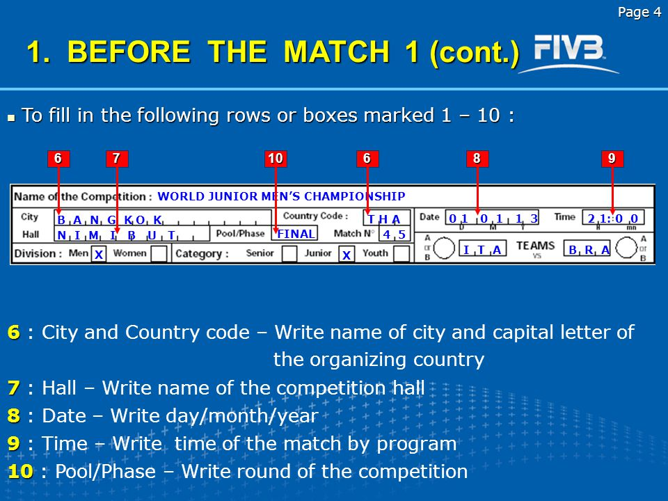 Corrected and presented b y Laszlo HERPAI FIVB RGC member Page 3 1. BEFORE THE MATCH 1 To fill in the following rows or boxes marked 1 – 10 : To fill
