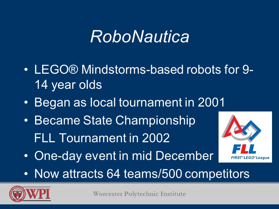 RoboNautica LEGO® Mindstorms-based robots for 9- 14 year olds Began as local tournament in 2001 Became State Championship FLL Tournament in 2002 One-day event in mid December Now attracts 64 teams/500 competitors