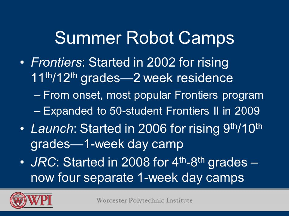 Worcester Polytechnic Institute Summer Robot Camps Frontiers: Started in 2002 for rising 11 th /12 th grades2 week residence –From onset, most popular Frontiers program –Expanded to 50-student Frontiers II in 2009 Launch: Started in 2006 for rising 9 th /10 th grades1-week day camp JRC: Started in 2008 for 4 th -8 th grades – now four separate 1-week day camps