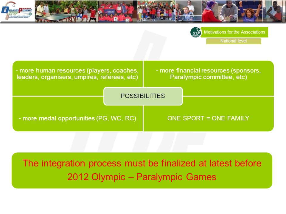 - more human resources (players, coaches, leaders, organisers, umpires, referees, etc) - more financial resources (sponsors, Paralympic committee, etc) - more medal opportunities (PG, WC, RC)ONE SPORT = ONE FAMILY POSSIBILITIES Motivations for the Associations National level The integration process must be finalized at latest before 2012 Olympic – Paralympic Games