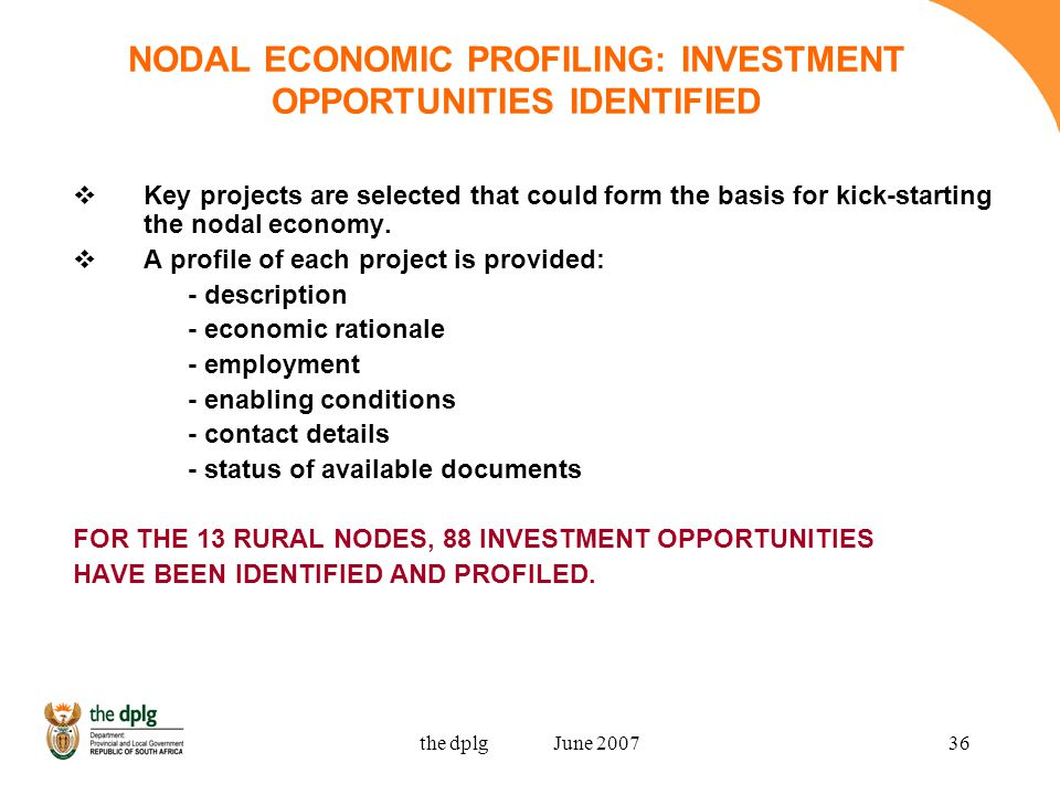 the dplg June 200736 NODAL ECONOMIC PROFILING: INVESTMENT OPPORTUNITIES IDENTIFIED Key projects are selected that could form the basis for kick-starting the nodal economy.