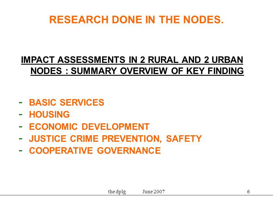 the dplg June 200737 Economic profiling project: actions for sector departments –Rural Nodes –Urban Nodes