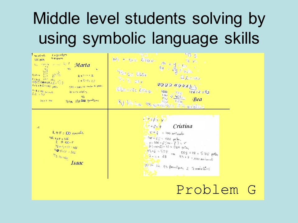 Middle level students solving by using symbolic language skills Problem G