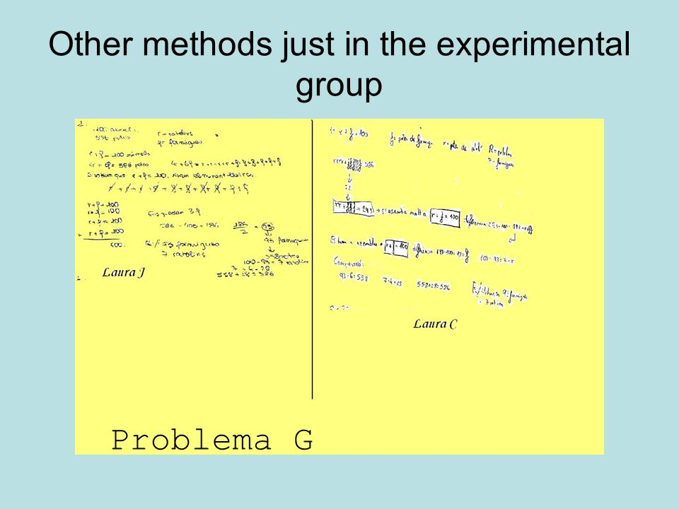 Other methods just in the experimental group Problema G