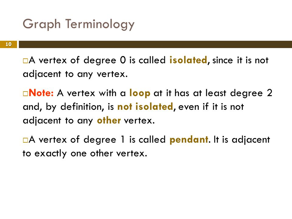 Graph Terminology 10 A vertex of degree 0 is called isolated, since it is not adjacent to any vertex. Note: A vertex with a loop at it has at least de