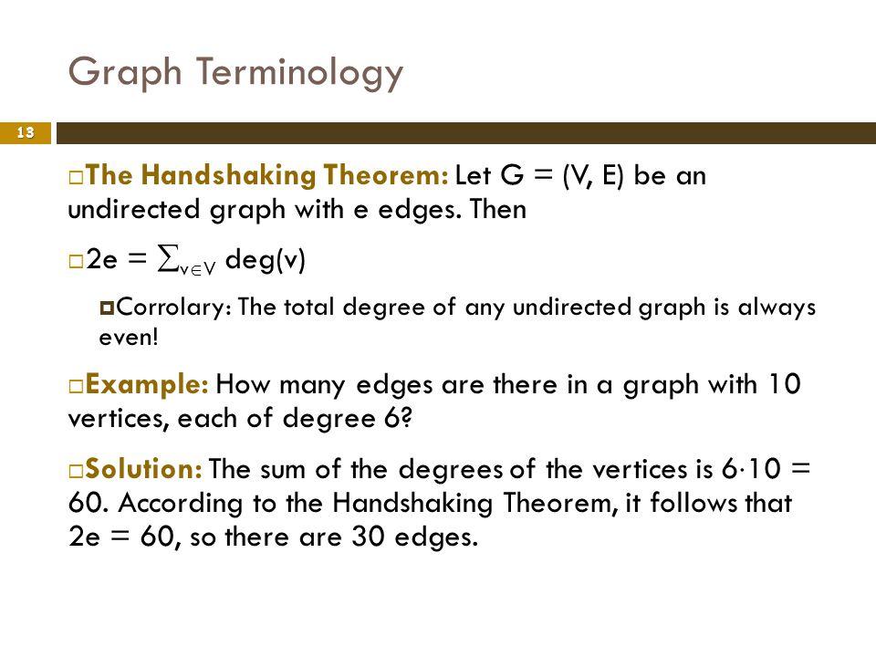 Graph Terminology 13 The Handshaking Theorem: Let G = (V, E) be an undirected graph with e edges. Then 2e = v V deg(v) Corrolary: The total degree of