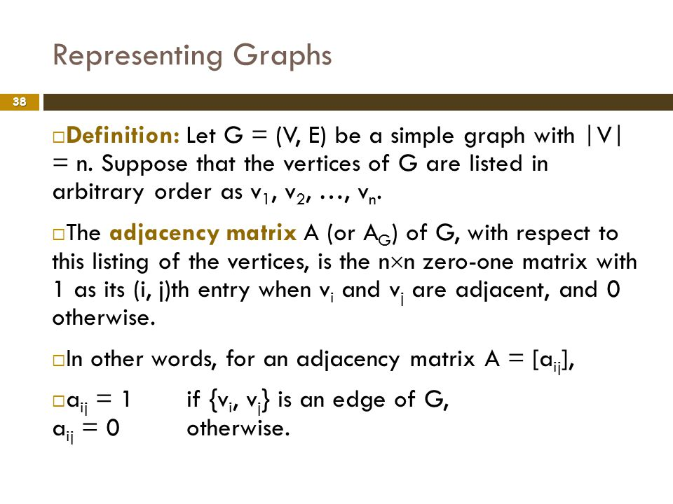 Representing Graphs 38 Definition: Let G = (V, E) be a simple graph with |V| = n. Suppose that the vertices of G are listed in arbitrary order as v 1,