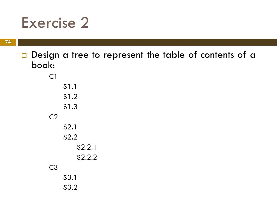 Exercise 2 74 Design a tree to represent the table of contents of a book: C1 S1.1 S1.2 S1.3 C2 S2.1 S2.2 S2.2.1 S2.2.2 C3 S3.1 S3.2