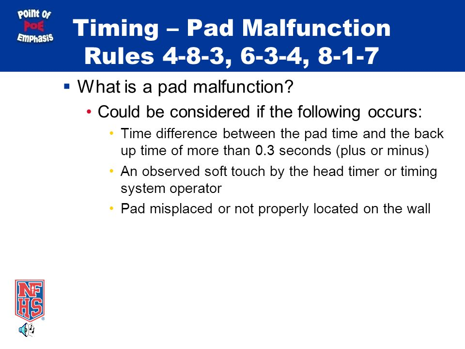 Starts and Finishes Rule 8-1-7 What constitutes a pad surface.