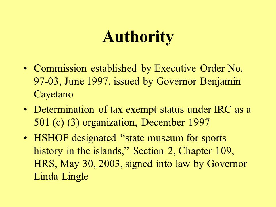 Authority Commission established by Executive Order No.