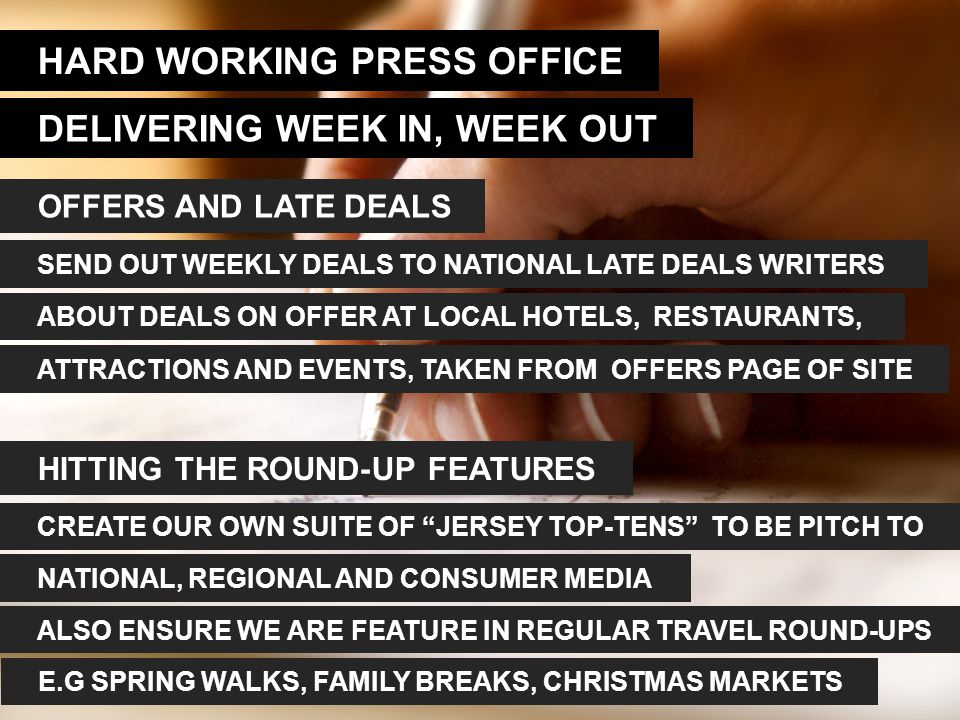 HARD WORKING PRESS OFFICE DELIVERING WEEK IN, WEEK OUT OFFERS AND LATE DEALS SEND OUT WEEKLY DEALS TO NATIONAL LATE DEALS WRITERS ABOUT DEALS ON OFFER AT LOCAL HOTELS, RESTAURANTS, ATTRACTIONS AND EVENTS, TAKEN FROM OFFERS PAGE OF SITE HITTING THE ROUND-UP FEATURES CREATE OUR OWN SUITE OF JERSEY TOP-TENS TO BE PITCH TO NATIONAL, REGIONAL AND CONSUMER MEDIA ALSO ENSURE WE ARE FEATURE IN REGULAR TRAVEL ROUND-UPS E.G SPRING WALKS, FAMILY BREAKS, CHRISTMAS MARKETS