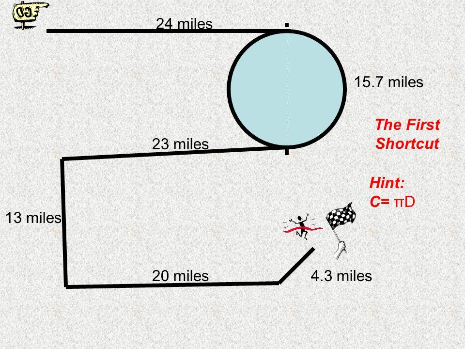 The Race Track (100 miles) 24 miles 15.7 miles 23 miles 13 miles 20 miles4.3 miles