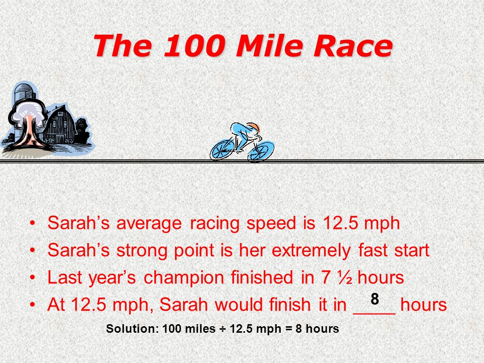 Dreams of Championship Sarah (age 13) –Bicycle enthusiast –Fiercely competitive –Win at all costs Sarahs goal –Win the grand race –Beat her friend Katie –Brag to everyone –Show off her trophy