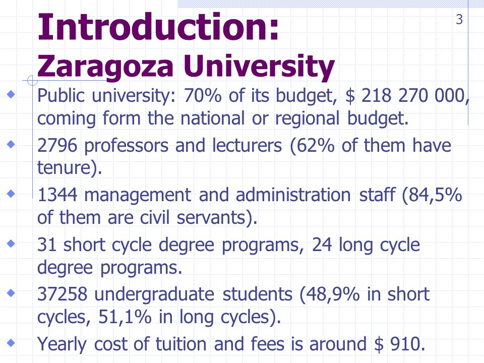 Introduction: Zaragoza University Public university: 70% of its budget, $ 218 270 000, coming form the national or regional budget.