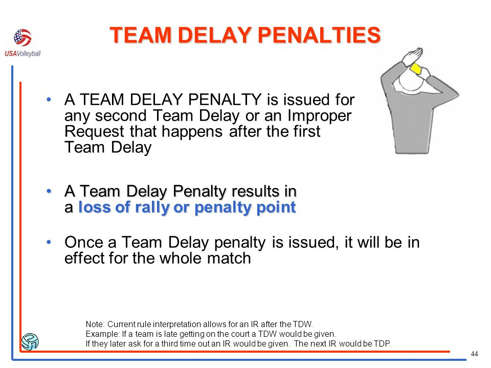 43 Recording a TEAM DELAY WARNING Rams are late returning from a time-out and are issued a Team Delay Warning. (The1 st ref holds a hand to the wrist