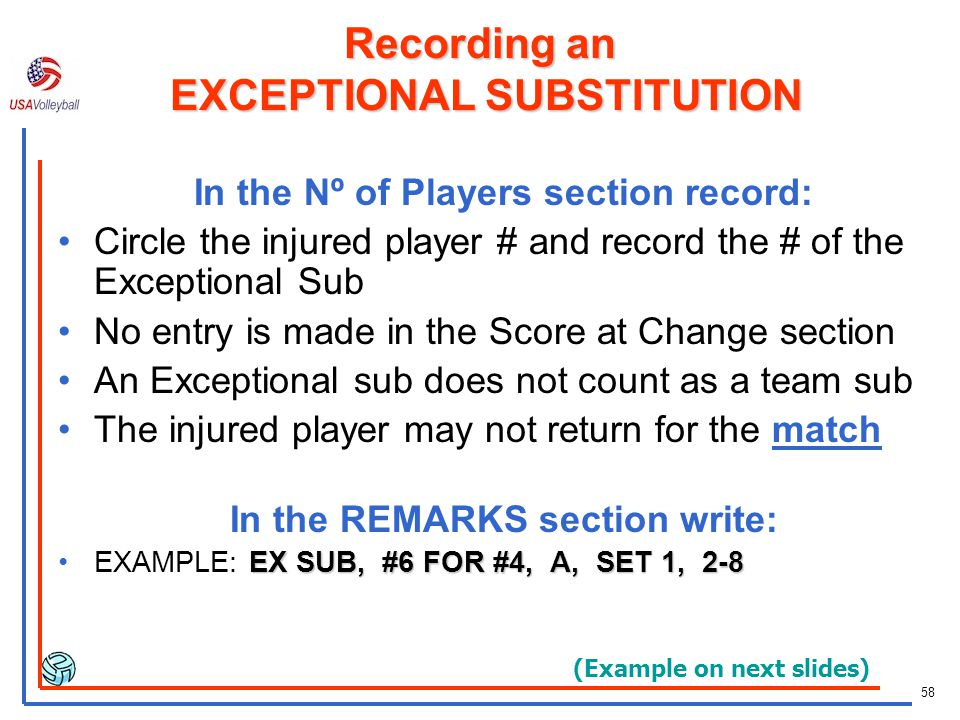 57 Order of Replacement for an Injured Player Use a legal sub first A player who has not entered the set, or By the starter or a sub who has played in