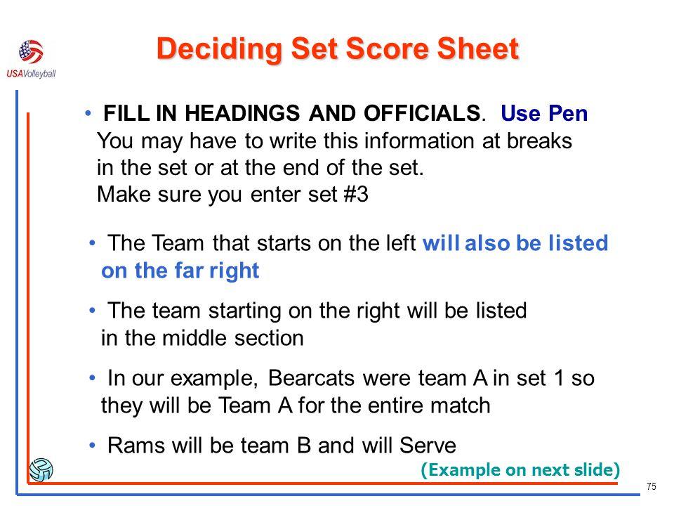 74 Deciding Set Score Sheet