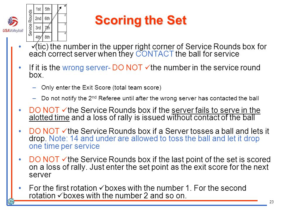 23 Scoring the Set (tic) the number in the upper right corner of Service Rounds box for each correct server when they CONTACT the ball for service If it is the wrong server- DO NOT the number in the service round box.