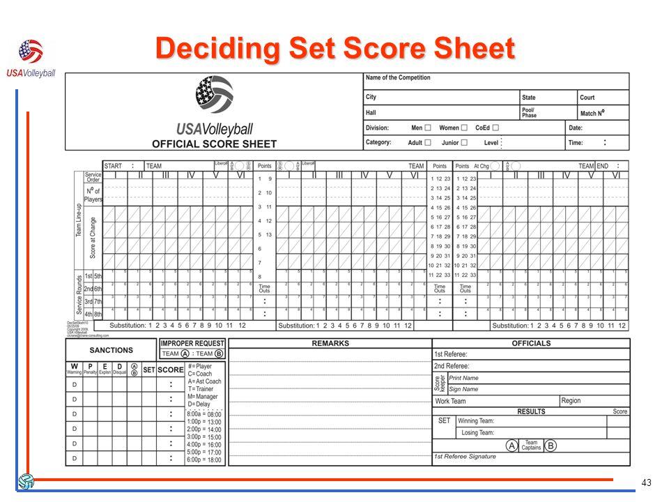 43 Deciding Set Score Sheet