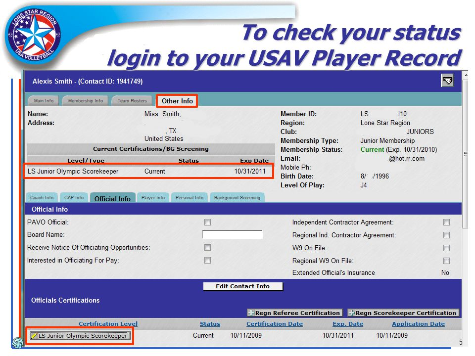 5 To check your status login to your USAV Player Record