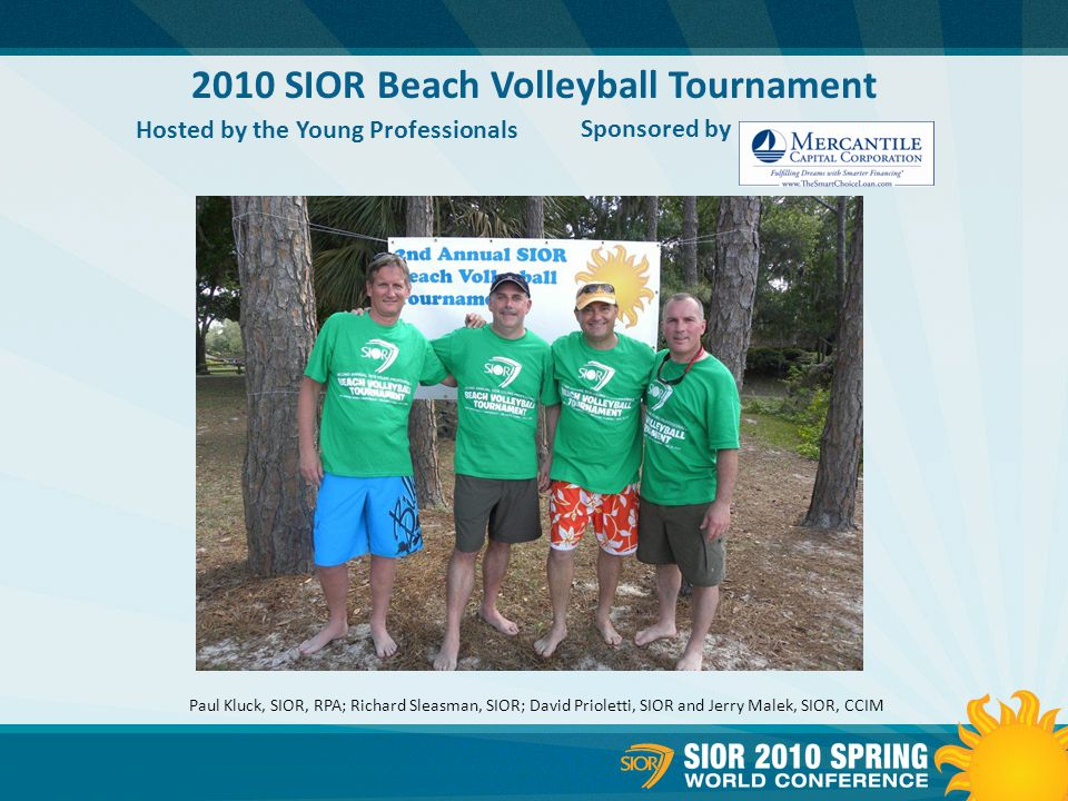 2010 SIOR Beach Volleyball Tournament Hosted by the Young Professionals Sponsored by Paul Kluck, SIOR, RPA; Richard Sleasman, SIOR; David Prioletti, SIOR and Jerry Malek, SIOR, CCIM