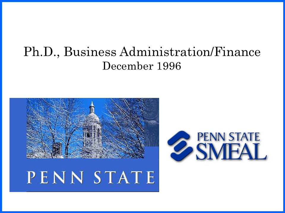 Ph.D., Business Administration/Finance December 1996