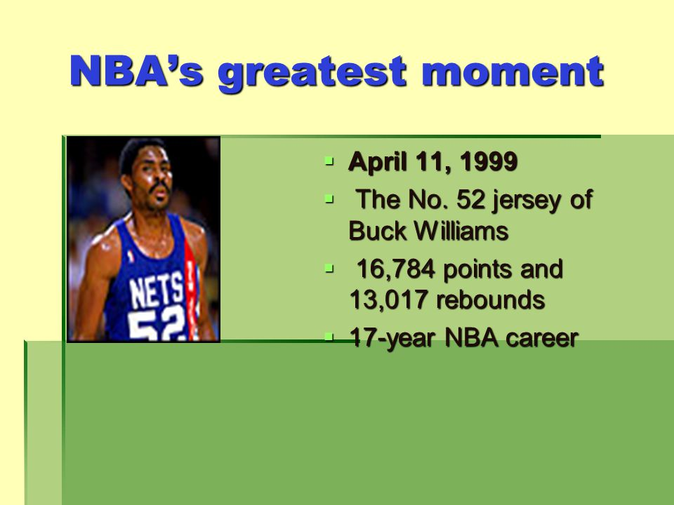 NBAs greatest moment April 11, 1999 April 11, 1999 The No.