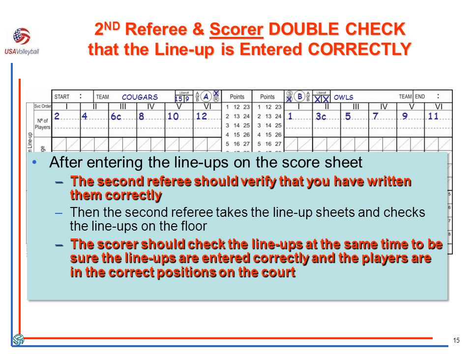 15 246c8101213c57911 After entering the line-ups on the score sheet –The second referee should verify that you have written them correctly –Then the s