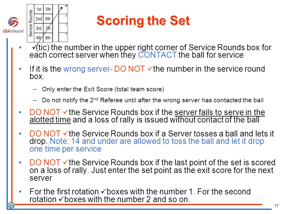 17 Scoring the Set (tic) the number in the upper right corner of Service Rounds box for each correct server when they CONTACT the ball for service If it is the wrong server- DO NOT the number in the service round box.