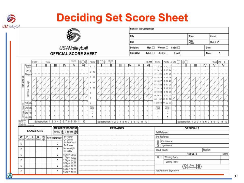 39 Deciding Set Score Sheet
