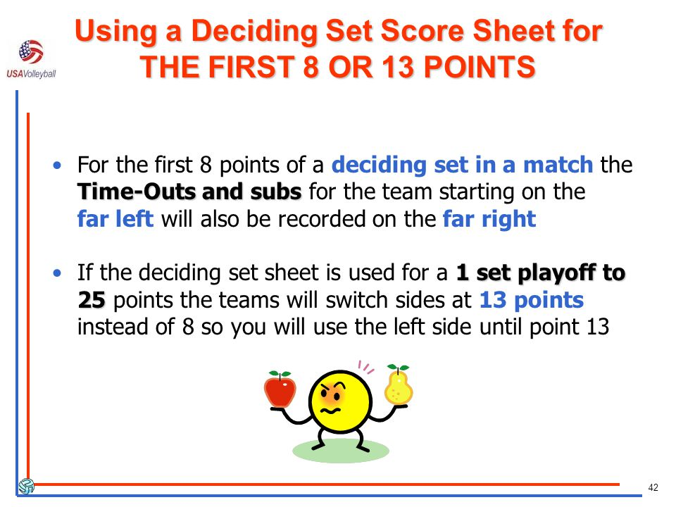 42 Time-Outs and subsFor the first 8 points of a deciding set in a match the Time-Outs and subs for the team starting on the far left will also be recorded on the far right 1 set playoff to 25If the deciding set sheet is used for a 1 set playoff to 25 points the teams will switch sides at 13 points instead of 8 so you will use the left side until point 13 Using a Deciding Set Score Sheet for THE FIRST 8 OR 13 POINTS