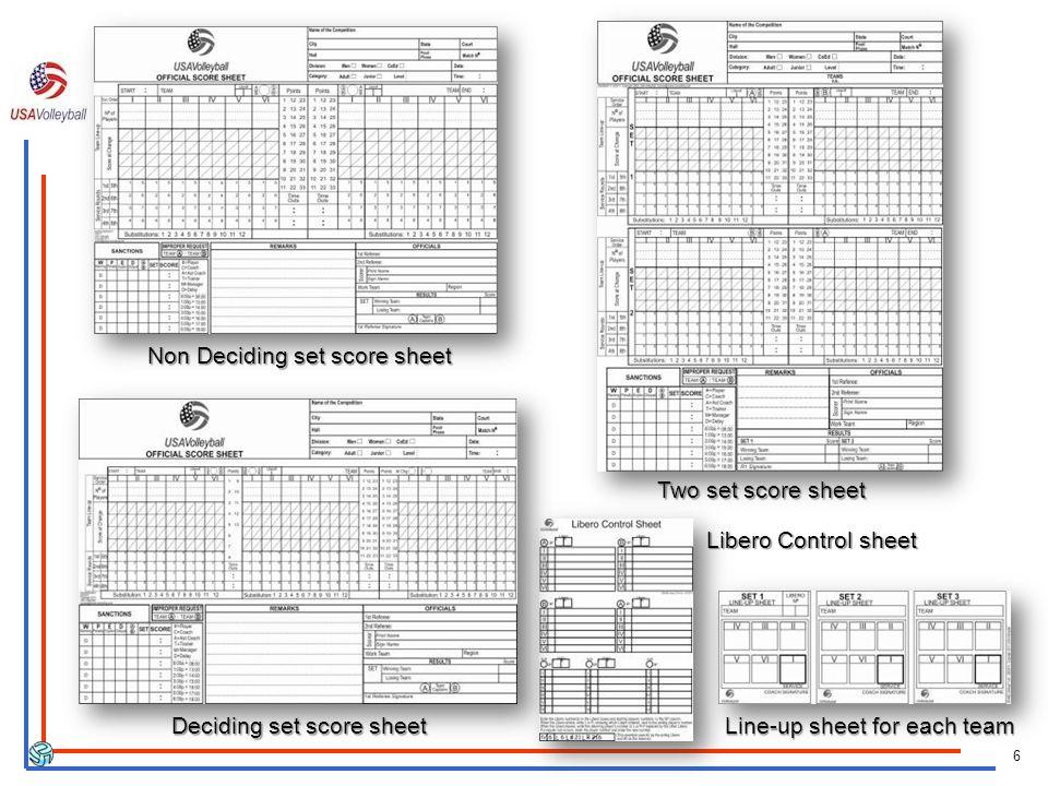 6 Non Deciding set score sheet Deciding set score sheet Libero Control sheet Line-up sheet for each team Two set score sheet