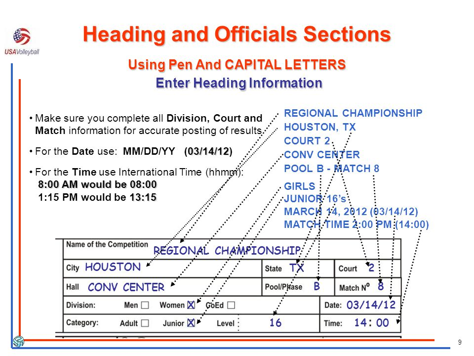 9 REGIONAL CHAMPIONSHIP HOUSTON, TX COURT 2 CONV CENTER POOL B - MATCH 8 GIRLS JUNIOR 16s MARCH 14, 2012 (03/14/12) MATCH TIME 2:00 PM (14:00) REGIONAL CHAMPIONSHIP HOUSTON TX2 CONV CENTER B8 X 16 03/14/12 14 00 Using Pen And CAPITAL LETTERS Enter Heading Information X Heading and Officials Sections Make sure you complete all Division, Court and Match information for accurate posting of results 03/14/12For the Date use: MM/DD/YY (03/14/12) 8:00 AM would be 08:00 13:15For the Time use International Time (hhmm): 8:00 AM would be 08:00 1:15 PM would be 13:15
