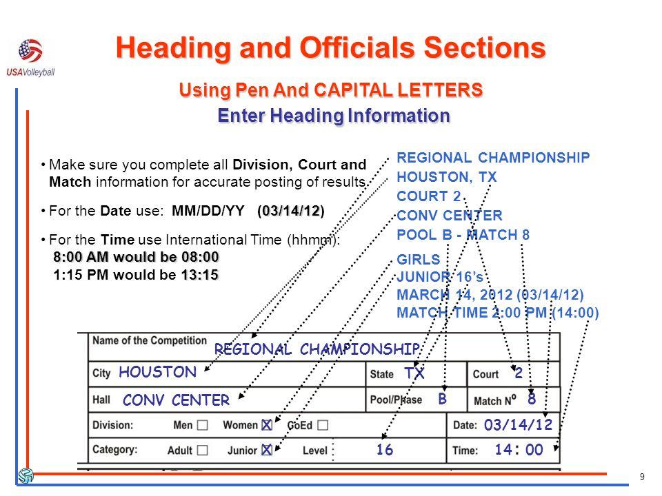 9 REGIONAL CHAMPIONSHIP HOUSTON, TX COURT 2 CONV CENTER POOL B - MATCH 8 GIRLS JUNIOR 16s MARCH 14, 2012 (03/14/12) MATCH TIME 2:00 PM (14:00) REGIONA