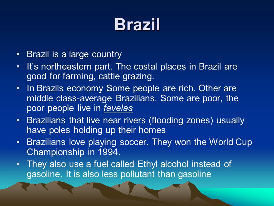Brazil Brazil is a large country Its northeastern part.