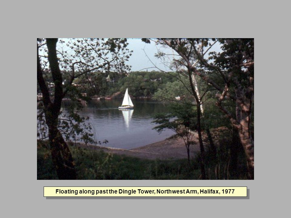 Floating along past the Dingle Tower, Northwest Arm, Halifax, 1977