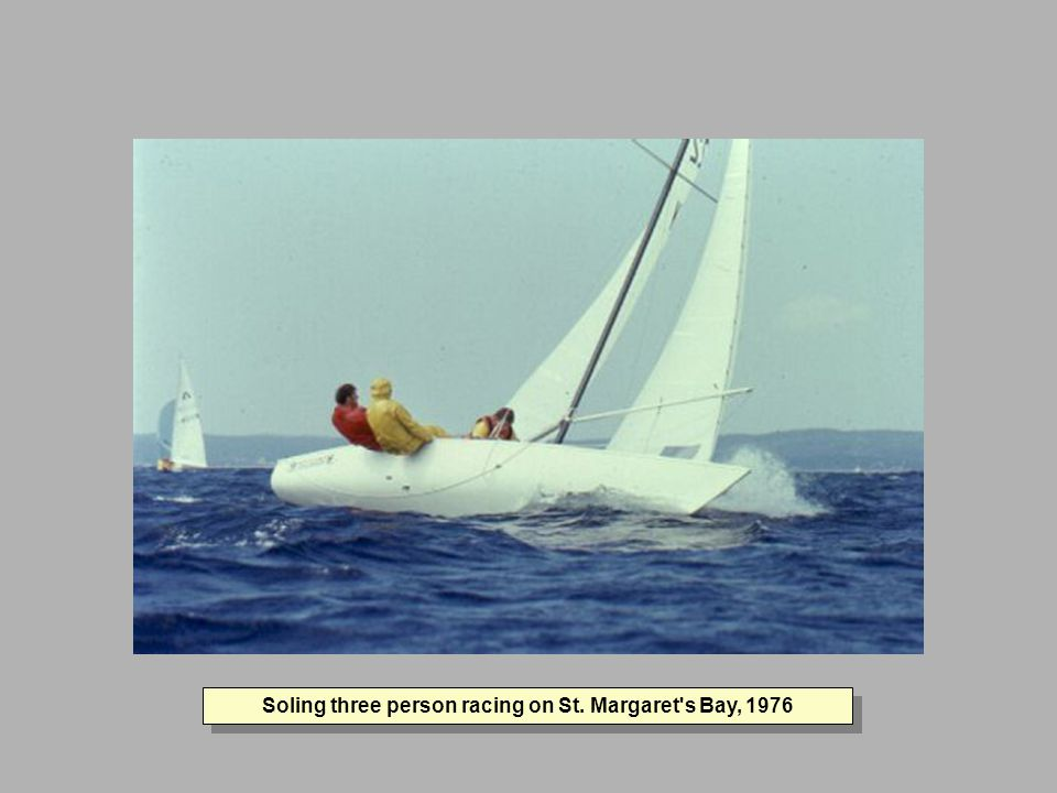 Soling three person racing on St. Margaret s Bay, 1976