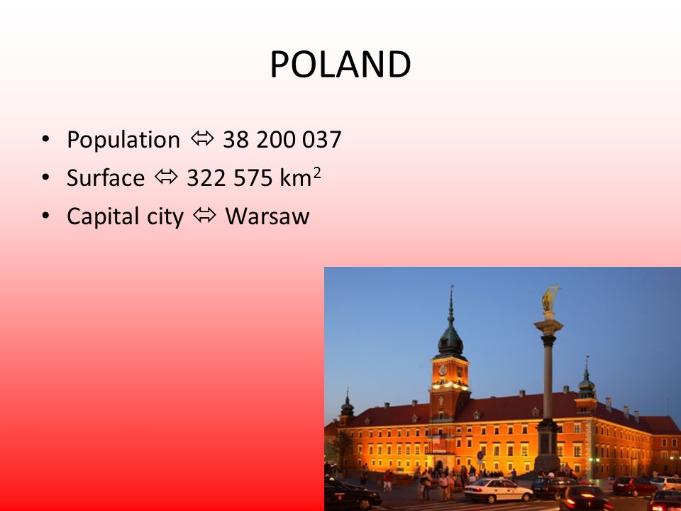 Population 38 200 037 Surface 322 575 km 2 Capital city Warsaw