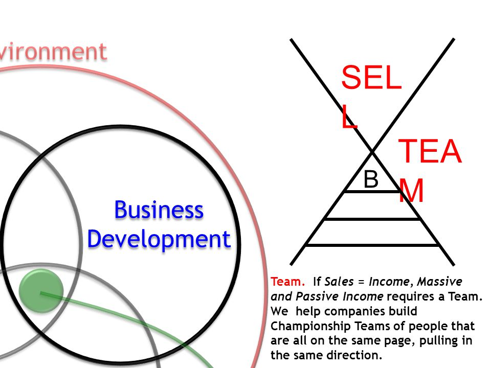 Team. If Sales = Income, Massive and Passive Income requires a Team. We help companies build Championship Teams of people that are all on the same pag