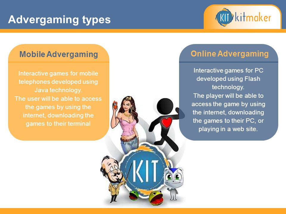 Online Advergaming Mobile Advergaming Interactive games for mobile telephones developed using Java technology.