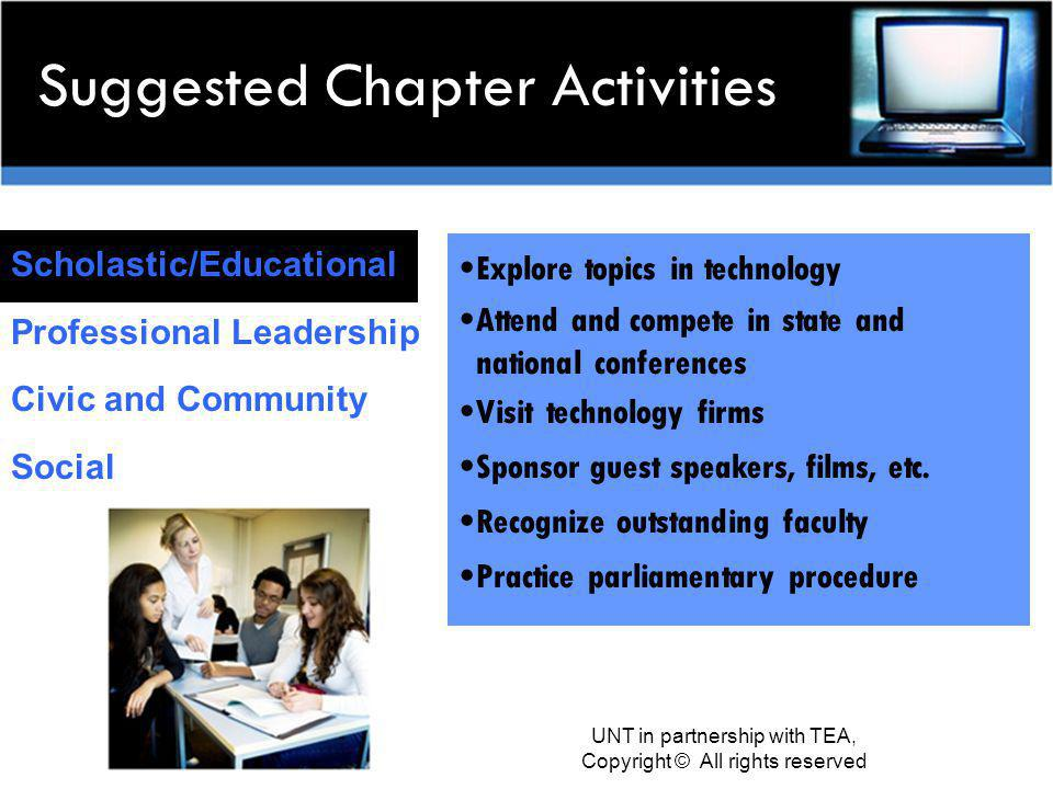Suggested Chapter Activities Scholastic/Educational Professional Leadership Civic and Community Social Explore topics in technology Attend and compete in state and national conferences Visit technology firms Sponsor guest speakers, films, etc.