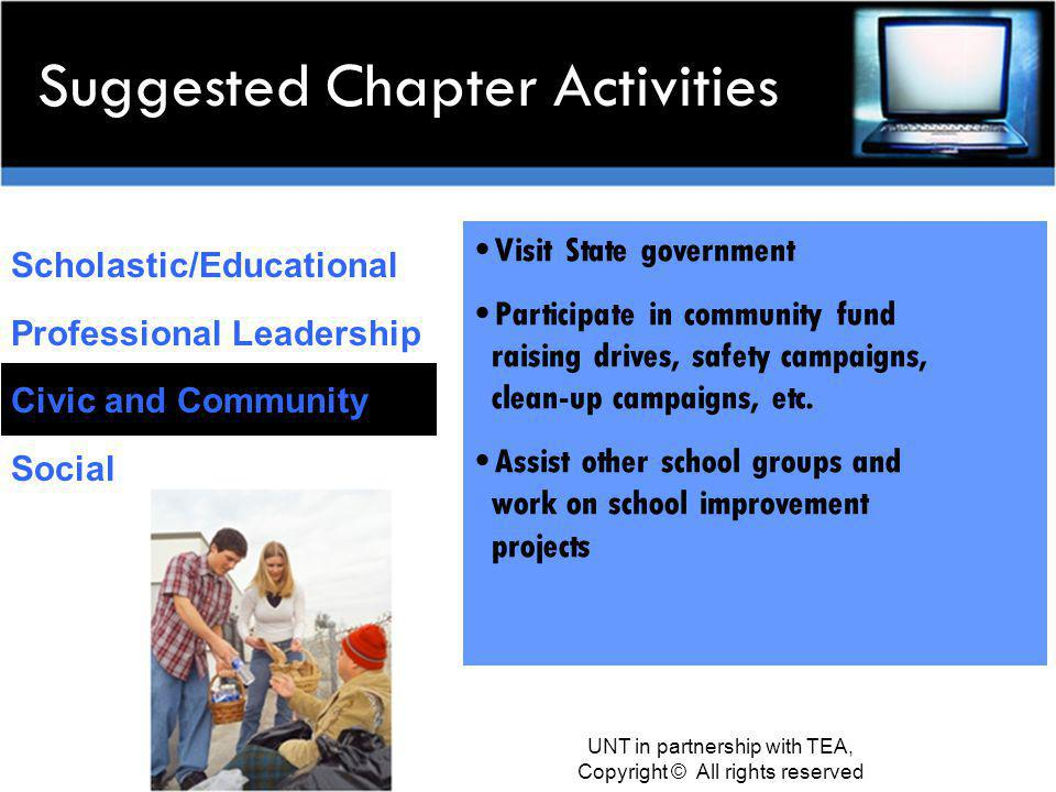 Suggested Chapter Activities Scholastic/Educational Professional Leadership Civic and Community Social Visit State government Participate in community fund raising drives, safety campaigns, clean-up campaigns, etc.